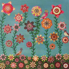 Abstract Birds and Flower Art Painting Collage by Sascalia by sascalia, via Flickr