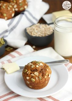 Easy One Bowl Pumpkin Oat Muffins - These are sure to become your favorite fall muffin! from @akitchenaddict
