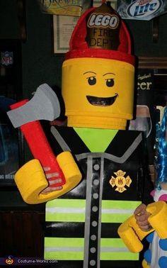 Lego Firefighter Costume - Halloween Costume Contest via Firefighter Costume Toddler, Firefighter Halloween, Firefighter Wedding, Firefighter Gifts, Volunteer Firefighter, Firefighters, Lego Halloween Costumes, Lego Man Costumes, Halloween Costume Contest