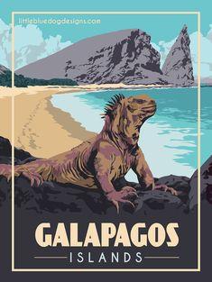 © 2021 Little Blue Dog Designs National Park Posters, National Parks, Galapagos Islands Ecuador, Blue Dog, Kyoto Japan, Rest Of The World, Vintage Travel Posters, Dog Design, Places To Go