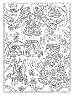 "Marjorie Sarnat's Fanciful Fashions Coloring for Everyone, ""Paisley Days"""