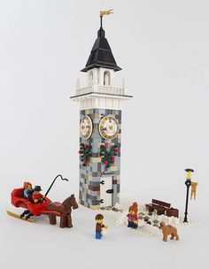 Based on the clock tower in Wellesley, MA this was about falling in love when it's winter time; winter sleigh rides, teenagers having a snowball fight, good. Lego Christmas Village, Lego Winter Village, Lego Gingerbread House, Casa Lego, Lego Projects, Brick Projects, Used Legos, Lego Club, Lego Modular