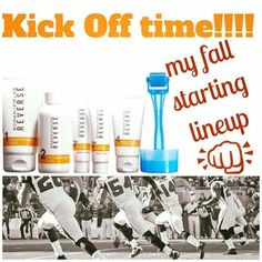 "I don't do football, but I do do (yes) great skincare!! My fall lineup is our Reverse regimen. Need help picking yours? Let me help you ""win the season""! Message me for specials 😉"