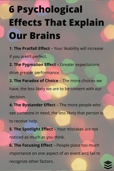 Brain facts, recognized phenomena, effects & paradoxes.