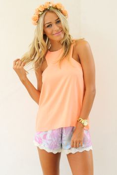 SABO SKIRT Neon Orange Relaxed Singlet - www.saboskirt.com