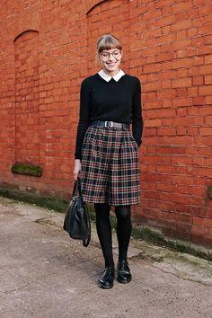 Tartan/Plaid skirt + Swag & Stare Retro Glasses