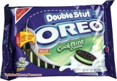 Double Stuf Cool Mint Creme Oreo's Weird Oreo Flavors, Cookie Flavors, Oreo Treats, Oreo Cookies, Sweet Recipes, Snack Recipes, Mint Oreo, Japanese Snacks, Weird Food