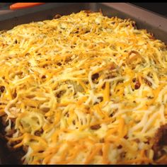 Baked spaghetti. Not perfect yet!  Beef. Onions. Pasta sauce. Pasta. Cheese mix. Oregano. Garlic powder. Baked at 350.