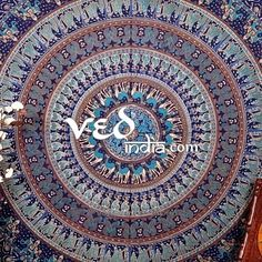 Purchase Blue Indian Mandala Tapestry Wall Hanging from Vedindia on OpenSky.