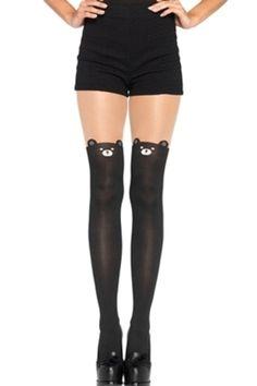 85b62de663 Leg Avenue Women's Black Bear Pantyhose, Black, One Size - Walmart.com