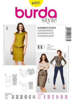 Burda Ladies Sewing Pattern 6977 - Peplum Top, Skirt & Dress Sizes: 8-18 Burda http://www.amazon.co.uk/dp/B00DPKX144/ref=cm_sw_r_pi_dp_r8zyub0WGBEJB