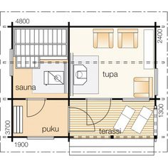 Sauna Kirsikka, 15m², KONKIRSIKKA, 2 Divider, Floor Plans, Cottage, Saunas, Room, Villa, Furniture, Home Decor, Homemade Home Decor