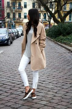 trench coat, stripes shirt, ankle zip white jeans & leopard slip-on sneakers #style #fashion