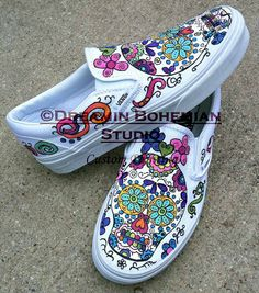 Custom Painted Sugar Skulls Day of the Dead by dreaminbohemian