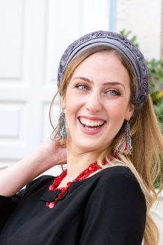 "🌸🌼Unique Grey color Headband decorated with a stunning small flowers band, handmade ""Mitpachat"" (Head Covering, Scarf, Tichel), fashionable and so comfortable. #headscarf #tichel #Headwrap #Turban #summerstyle #beautiful #beauty #fashion #style #love #jew #jewish #judaic #judaica #judaism #hebrew #headscarve #religion #religious #israel #israeli #pashmina #tichels #mitpachat #headcovering #modesty #beautiful #hairloss #chemo # hat Flower Band, Basic Grey, Small Flowers, Fabric Design, Gray Color, Awesome Gifts, Small Shops, Tie, Beauty"