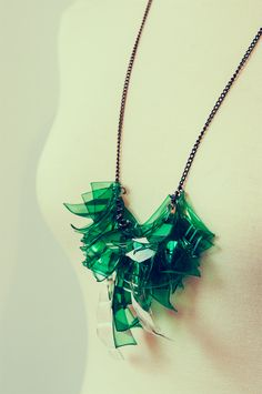 necklace made of upcycled plastic bottles