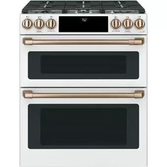 Cafe Slide-In Front Control Convection Double Oven Induction Range with Wifi Connect and 5 Elements - Matte White with Brushed Bronze Handles and Knobs Double Oven Electric Range, Double Oven Range, Electric Wall Oven, Double Ovens, Ottawa, Calgary, Home Design, Design Ideas, Verona