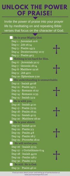 Have you ever felt like something was missing from your prayer life? It could be praise and worship. Unlock the power of praise in your prayer life with these 31 verses! One verse a day is all it takes! {Click for more FREE PRINTABLES!} via @JrnyToImperfect