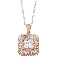 Rosie Hill Designs White Sapphire & Rose Gold Cluster-Square Pendant Necklace | zulily