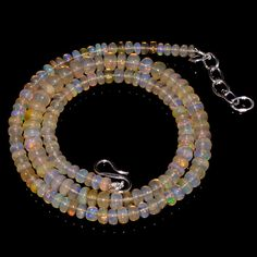 "59CRTS 4to5.5MM 18"" ETHIOPIAN OPAL RONDELLE BEAUTIFUL BEADS NECKLACE OBI715 #OPALBEADSINDIA"