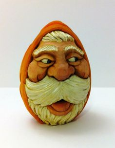 I'm undecided whether this is an elf or a gnome, but he is definitely not a Santa! I was trying to give Mark Akers the last bit of my cash, and I saw a. St Claus, Carved Eggs, An Elf, Wooden Art, Christmas Items, Dremel, Pyrography, Wood Carving, Wood Crafts