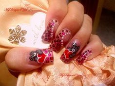 Cute Teddy Valentine's Day Nail Art Design Tutorial, Leopard Print - ♥ MyDesigns4You ♥