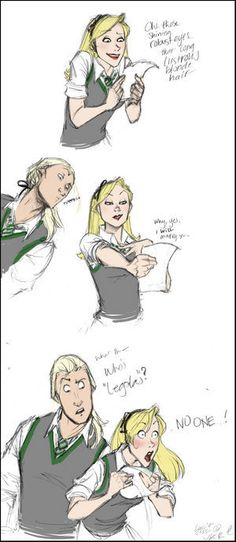 """""""Oh those shining robust eyes, lustrous blond hair...why yes, I will marry y--"""" """"What the--who's Legolas?"""" """"No one!""""  --Lucius and Narcissa"""