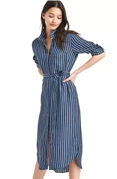 Spring Look Picture Description product Striped Shirt Dress, Midi Shirt Dress, Gap Dress, Spring Look, Camisa Formal, Petite Outfits, Petite Dresses, Gap Women, Trendy Outfits