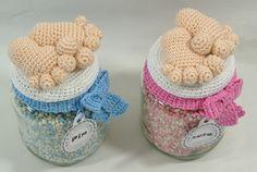 Gratis Download | Haakpret Crochet Baby, Knit Crochet, Crochet Jar Covers, Jar Crafts, Loom Knitting, Baby Items, Crochet Patterns, Wool, Children