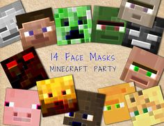 Minecraft Inspired Face Masks - Beautiful material for birthday party! Don't miss a chance and add some fresh and interesting look to your party! 9th Birthday Parties, Minecraft Birthday Party, 10th Birthday, Minecraft Mask, Minecraft Room, Minecraft Stuff, Video Game Party, Video Game Crafts, Video Games