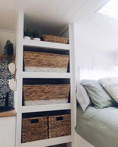 Looking for travel trailer remodel ideas? We have found some of the best caravan renovation ideas and put them all into one great post. Travel Trailer Storage, Travel Trailer Interior, Small Travel Trailers, Travel Trailer Remodel, Vintage Campers Trailers, Rv Storage, Airstream Interior, Vintage Airstream, Vintage Caravans