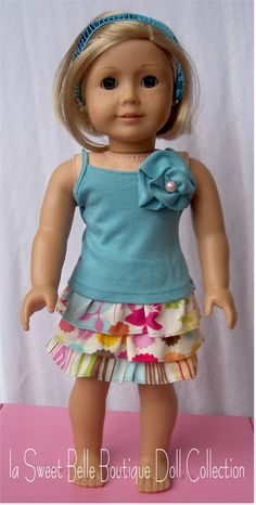 American Girl Waldorf Doll Clothes Ruffled Skirt with Rosette Tank--Inspiration only