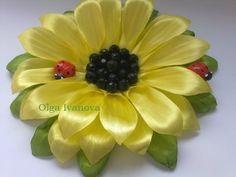 Цветок канзаши Подсолнух flower kanzashi Sunflower Мастер класс master...