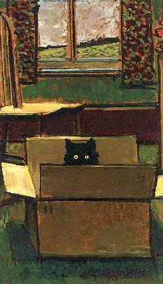 Cat in a cardboard box, by Ruskin Spear