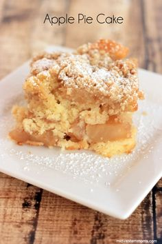 This apple pie cake recipe turned out to be pretty tasty. It is the best of both worlds, pie and cake together!