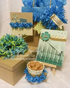 Let the Fringe Begin! www.CraftProjectCentral.com Perhaps you've looked at Stampin' Up!'s Fringe Scissors and wondered what—besides paper grass—you can create with them.  This tutorial will show you how to create a closed-loop bow, an open fringe bow, a fun fringe card, and twisted fringe trim for cards, scrapbook pages, gifts, and other projects.