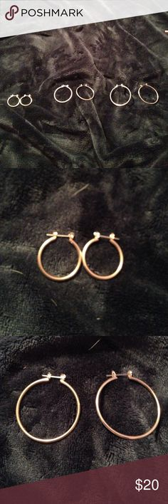 3 pairs of golden hoop earrings three beautiful pairs of gold hoops to go with every outfit and for every occasion! could do them each separately for $10 each Jewelry Earrings