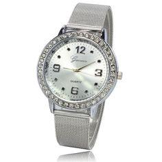 >> Click to Buy << Luxury Quartz Watch Vogue Women Rhinestone Silver Dial Stainless Steel Mesh Band Sports Women Gift Watches relogio feminino #Affiliate