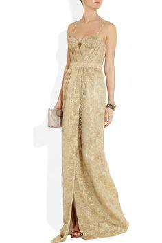 Burberry Prorsum Metallic lace gown NET-A-PORTER.COM