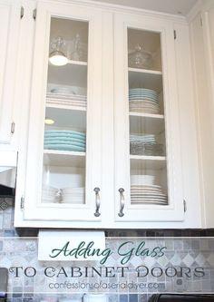 DIY how to convert wood doors into glass doors for the kitchen