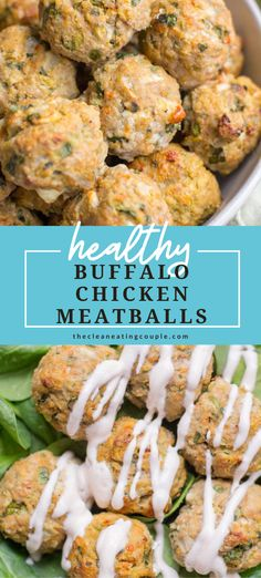 Healthy Buffalo Chicken Meatballs are a delicious, easy weeknight dinner. Easily made paleo and whole30, they're perfect over a salad or on rice! Baked in the oven to crispy perfection - they're great for meal prep. #paleo #whole30 #buffalo #turkey #meatballs #mealprep