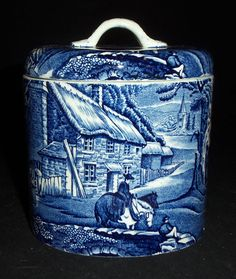 Blue English Transferware Ironstone Lidded Jar Canister for Sugar Flour Coffee Tea Pastoral Horse and Bridge Scene - Kitchen Decor - Bathroom Decor