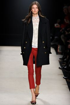 red cropped pants, lace shirt, oversize coat