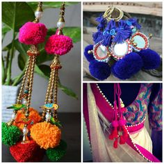 Pom Poms are so in style right now, use it as saree latkans or on dupattas or even earrings, there are tons of options #Frugal2Fab