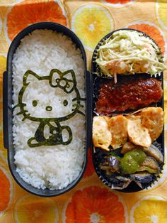 Nori Seaweed Hello Kitty Kyaraben Bento by Kucucu Cute Bento Boxes, Cool Lunch Boxes, Cute Food, I Love Food, Good Food, Bento Ideas, Bento Recipes, Japanese Bento Lunch Box, Japanese Food Art