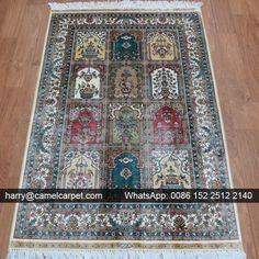 Garden Carpet with White color border No.11172 — 3x4.5foot Handmade Silk #OrientalRug --- harry@camelcarpet.com