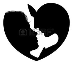 Couple faces heart silhouette concept  Silhouette of man and womans heads forming a heart shape