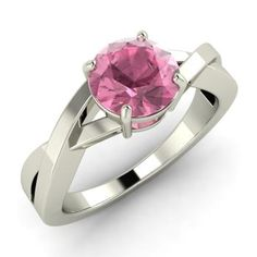 Round Pink Tourmaline  Solitaire Ring in 14k White Gold