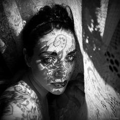 black and white lace portrait amazing light