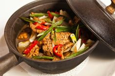 Ginger chicken in a clay pot